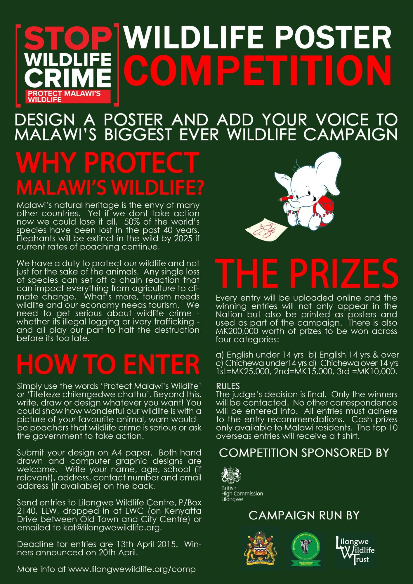 Poster design rules - Design A Poster And Add Your Voice To Malawi S Biggest Ever Wildlife Campaign