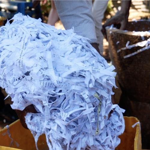 Briquette making - pshredded paper