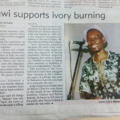 LAWI SUPPORTS IVORY BURNING