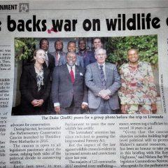 ROYAL VISIT TO MALAWI FOCUSES ON WILDLIFE CRIME
