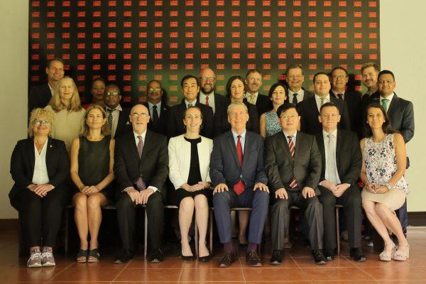 First row, left to right: Hon Consul Sylvia Giannakis (Switzerland), Hon Consul Len van der Hoeven (Sweden), Ambassador Robert K Scott (USA); High Commisioner Holly Tett (UK), Ambassador Juergen Borsch (Germany), Dep. Ambassador Wang Ziusheng (China), Ambassador Artur Jose Saraiva de Oliviera (Brazil), Hon Consul Zaida Costantini (Finland). Second row: Hon Consul Fiona Peacey (Australia), High Commissioner Dr John Phiri  (Zambia), Dep. Ambassador Hirotsugu Ikeda (Japan), Ambassador Sandra Paesen (EU), Hon Consul Maria Soriano Giannakis (Spain), Ambassador Hassan Shawky (Egypt), Dep. High Commissioner Paul Siljeur (South Africa). Third row: Hon Consul Bouke Bijl (Netherlands), Irene Mambala (Flanders), High Commissioner Jorge Gune (Mozambique), Ambassador Gerry Cunningham (Ireland), Ambassador Steinar Egil Hagen (Norway), Consul Eugenio Sabelli (Italy), Hon Consul Kristian Moller (Denmark)