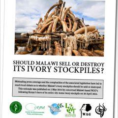 MALAWI'S IVORY BURN DEBATE RE-IGNITED